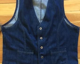 Vintage Womens Vest-Dark Denim Look-Western Vest-Dark Blue-Size Medium/Large