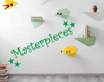 MASTERPIECES Wall sticker decal - Show off kids artwork - quote - 22 colours choices - kids bedroom playroom DIY WQB10