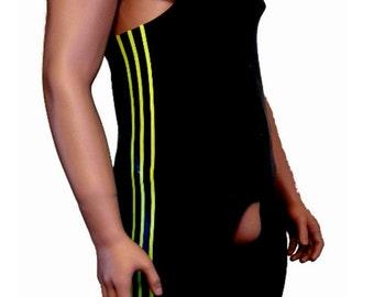 Latex rubber wrestling suit easy access black 3 stripe