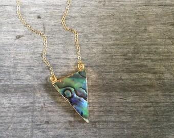 Abalone Triangle Necklace - Abalone Necklace - Abalone - Gift for Her - Girl Gift - Shell Necklace - Abalone Pendant - Shell Pendant