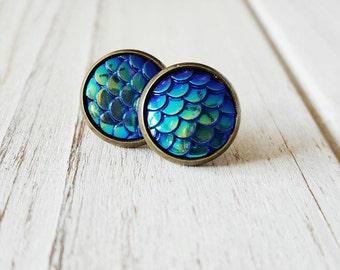 Mermaid Stud Earrings, Blue, Mermaid, Mermaid Scales, Mermaid Earrings, Mermaid Studs, Stud Earrings, Gift for her, Bridesmaid gift