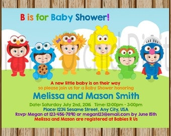 Sesame Street Baby Shower Invitation  Sesame Street Baby Shower   Sesame  Street Birthday Invitation