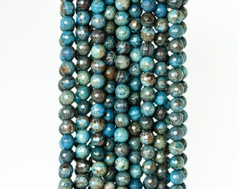 2043_Agate 6mm, Blue beads, Faceted round beads, Brown natural agate, Round beads, Agate stone beads, Faceted agate beads, Natural agate.