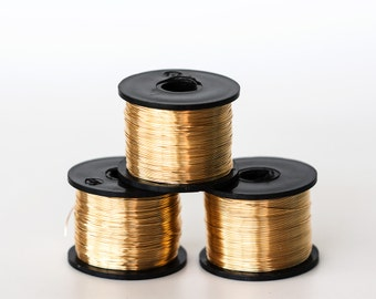 1737_Gilt wire 26 gauge, Gold jewelry wire 0.4mm, Golden wire reel, Copper wire, Wire wrap, Gilt craft wire, Thin wire, Wrapping wire_125 m.