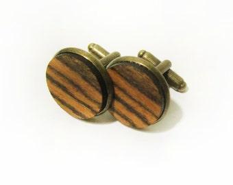 Bocote Wood Cuff Link Pair (2) - Handmade Wooden Cuff Link