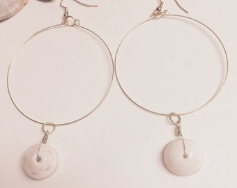 Puka Shell Large Silver Wire Hoop Earrings