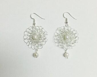 Fresh Water Pearls Silver Crochet Flower Wire Dangling Earrings