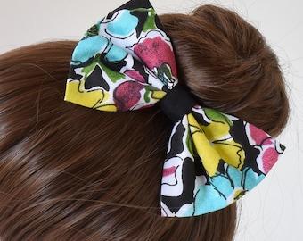 Large Hair Bow | Hair Bows for Teens | Floral Hair Bow | Fabric Hair Bows | Bows for Hair | Colorful Bow | Hair Bows for Women | Hair Clips