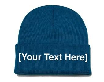Custom Beanie, Custom Beanies, Custom Embroidered Beanie, Custom Beanie Hat, Dark Turquoise