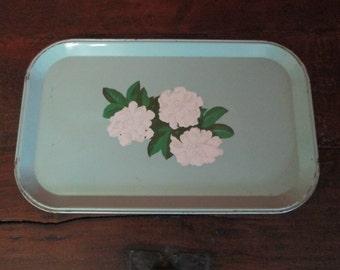 Antique Vintage Decorative Green Metal Tray with White Gardenias