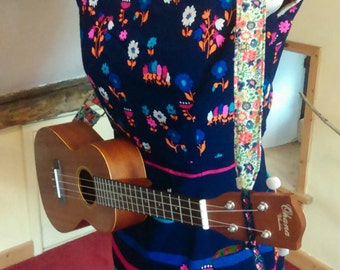 Handmade, adjustable, fabric ukulele strap with buttonhole and ribbon fastenings