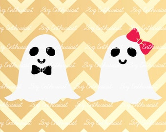 Cute ghosts SVG, Ghost SVG, Miss Ghost Svg, Mister Ghost Svg, Kawaii Ghost Svg, Bow Svg, Halloween SVG, Eps, Dxf, Cut File, Clip Art, Vector