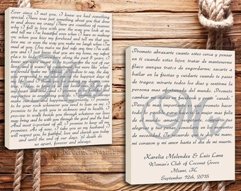 "Vows Word Art, Canvas with Your Vows, Reception Art, Show Your Love Wedding Vows Canvas ""He"" & ""She"" / Mr. and Mrs. Set of 2 same size"