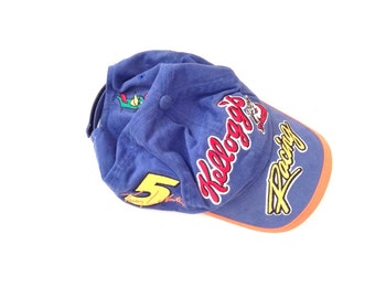 Kellogg's 100% cotton blue faded cap with adjustable strap and multiple embriodered logos
