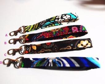 "6"" Vera Bradley Key Fob Wristlet with Swivel Snap Hook Handmade"