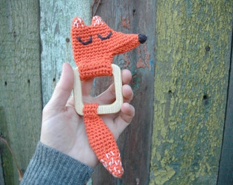 Crochet Rattle Fox/ Baby Crochet Teether/ Baby Gift