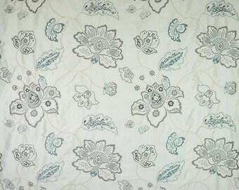 DESIGNER FLORAL VINES Embroidered Silk Fabric 10 Yards Ocean