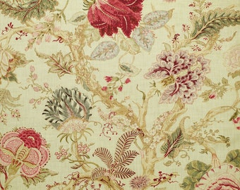 CLARENCE HOUSE JACOBEAN Tree of Life Linen Fabric 10 Yards Rouge Green Amber Multi