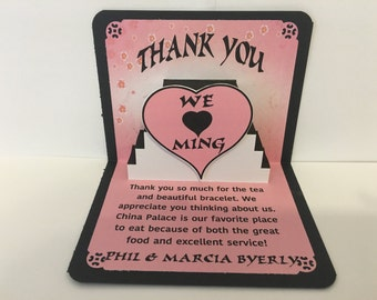 Thank You: Pretty in Pink and Black Pop Up Card
