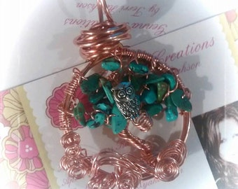 Genuine Turquoise Tree Of Life Pendant