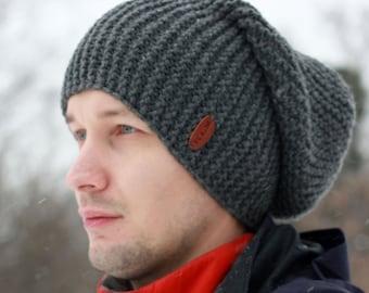Slouchy Hat / Men's Hat Beanie / Knit Hat for Men / Knit Beanie /  Wool Blend Hat / Handmade Knitted Hat / Grey Hat / Beanie