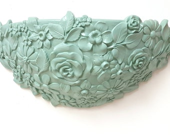 Syroco Wall Pocket Planter Wall Hanging Vintage 1970s Jade Green