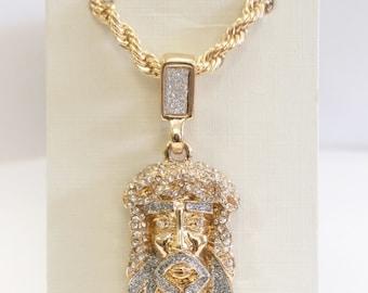 18k Gold Plated Jesus Face Pendant Necklace