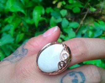 Nestled oval ring Crystal copper with Tiffany technique, oakengates adjustable