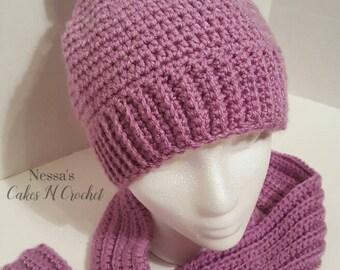 Crochet Pom Pom hat with matching Scarf