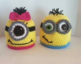 Minion Girl or Boy pink or blue crochet hat, Halloween costume hat or Christmas gift