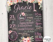 Boho Birthday Chalkboard Poster  - Baby Girl Birthday - First Birthday - 1st birthday - Rustic Rose Quartz Farmhouse Floral- Digital File