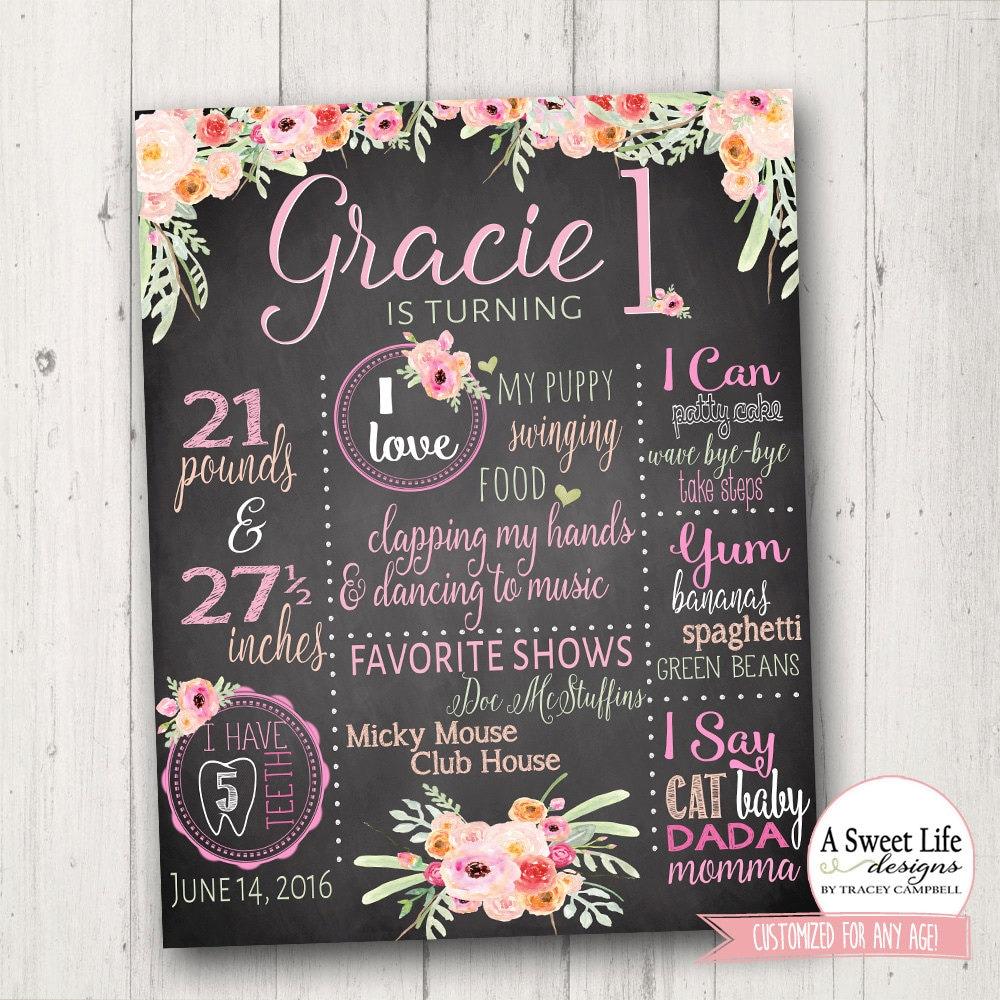 Boho Birthday Chalkboard Poster Baby Girl By ASweetLifeDesigns