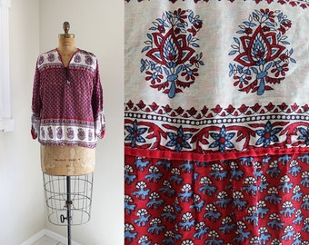 1970s Indian Cotton Blouse / Basket of Rubies Blouse / Vintage 70s Indian Cotton Top / S M