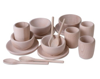 Children's Wooden Dinner Set - Montessori and Waldorf Inspired Pretend Play