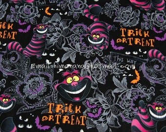 al009 - 1 Yard Cotton Woven Fabric - Disney Cartoon Characters, The Cheshire Cat, Alice in Wonderland - Black (W140,T31,220g)