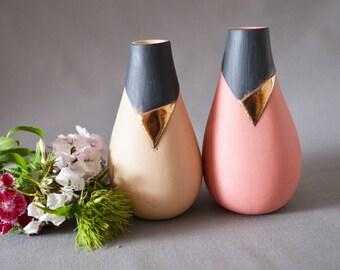 SECONDS* Ceramic Vase -X2 Ceramic Vases (Honey and Black + Pink and Black Bud Vase with Gold Lustre -Porcelain Vase, Matte finish)