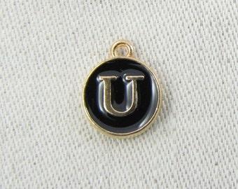 "Black and Gold Enamel Letter ""U"" Charm, 1 or 5 letters per package  ALF003u-B"