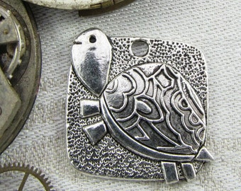 1 (or 5) Turtle or Tortoise Silver Charms, ANM074