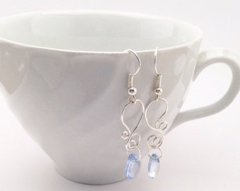 Hand Made Paisley Earrings with Light Blue Gem
