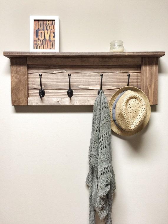 rustic wooden entryway walnut coat rack rustic wooden shelf. Black Bedroom Furniture Sets. Home Design Ideas