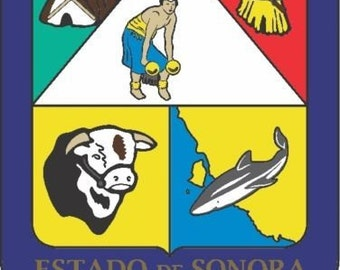 2 Pieces Sonora Mexico. Coat Of ArmsDecals Stickers Full Color/Weather Proof. U.S.A Free Shipping