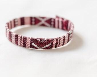 Friendship Bracelet with Aztec Embroidery - Burgundy