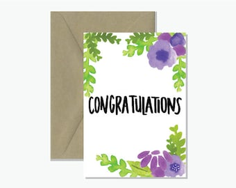 Congratulations Watercolour Greeting Card