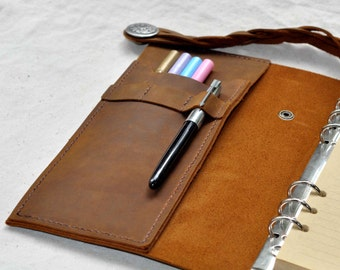 Unique Leather Sketchbook,Leather Journal, Replace paper with Binder, Handmade Office stationery,Gifts for him   ( Free stamp)