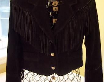 Vintage heavy black suede fringed jacket/Women's size 8 jacket/Pioneer Brand suede jacket/Made in USA/Women's suede fringed biker jacket