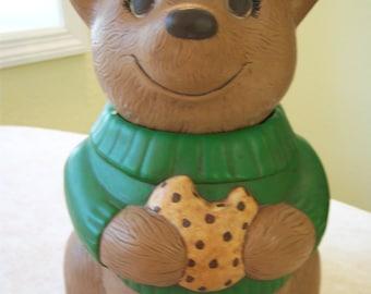 OOAK hand made ceramic bear cookie jar/Vintage whimsical bear cookie jar/Storage/Kitchen and dining/Bear collectors
