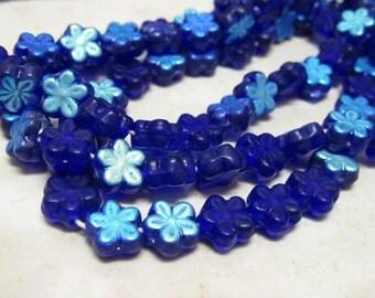 Cobalt Blue Czech Glass Flower Daisy Beads - 8mm - 25 Pieces