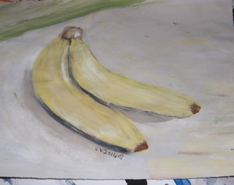 Bananas painting still life art painting kitchen decor fruit painting banana art acrylic painting original art modern art painting
