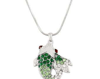 Crystal White Gold Plating Green White Koi Fish Pendant Necklace, Tropical Fish Jewelry, Koi Necklace, w Gift Box