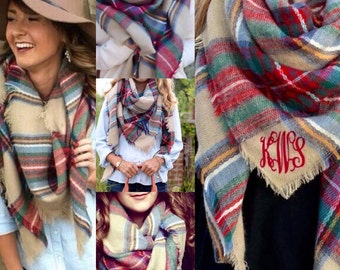 Monogrammed Blanket Scarf, Plaid Scarf, Warm Winter Scarf, Winter Wrap, Women's Christmas Gift, Winter Scarf, Monogram Gift,